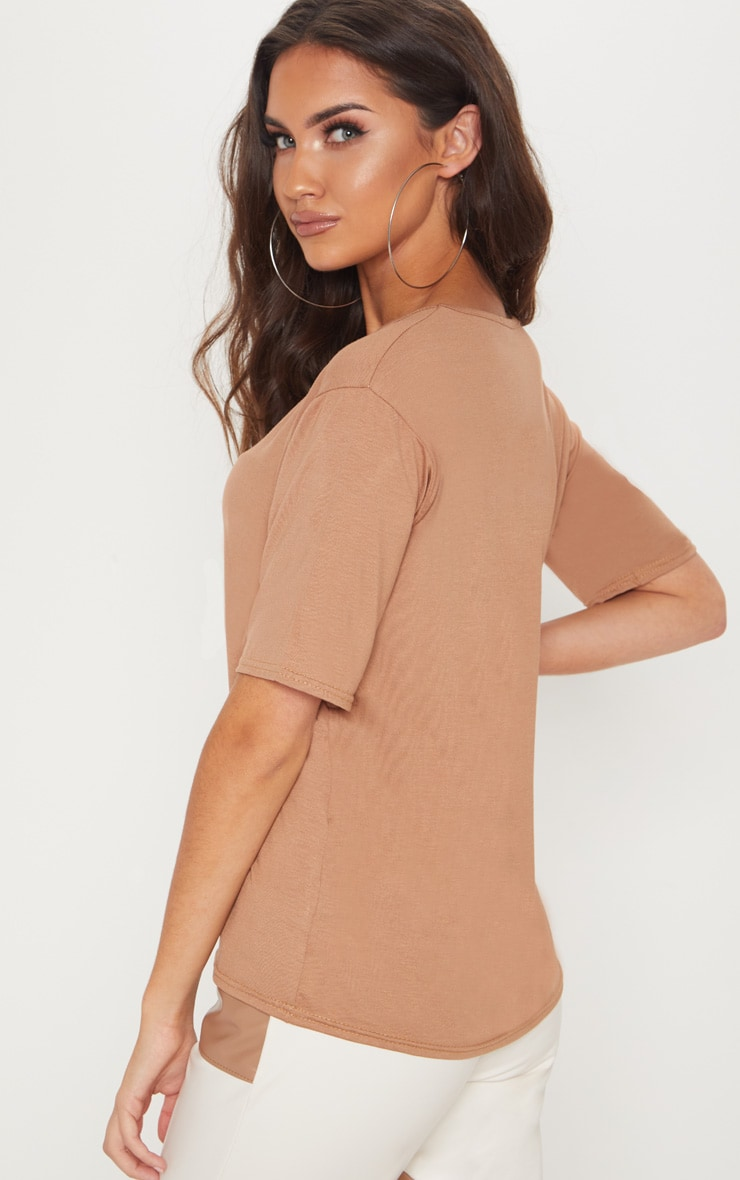 Basic Dark Camel V Neck T Shirt 2