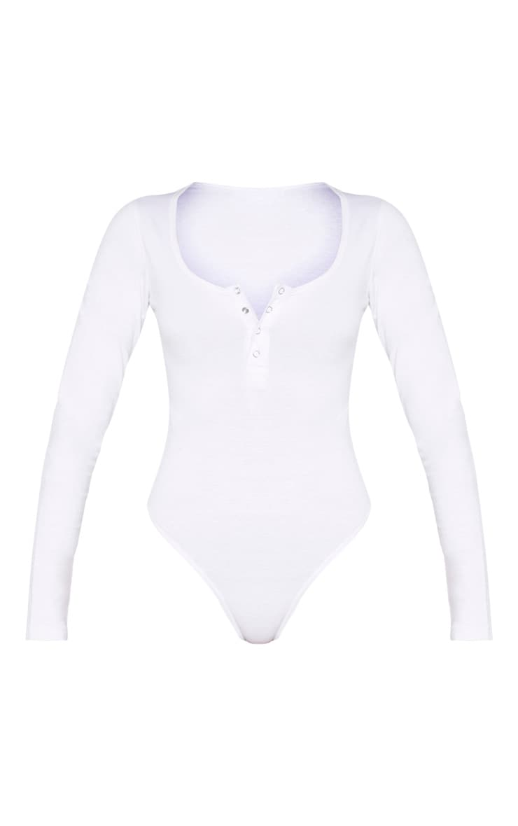 White Cotton Popper Scoop Neck Bodysuit 3