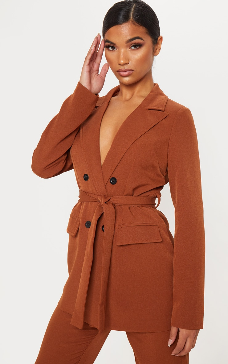 Chocolate Brown Belted Longline Blazer  1