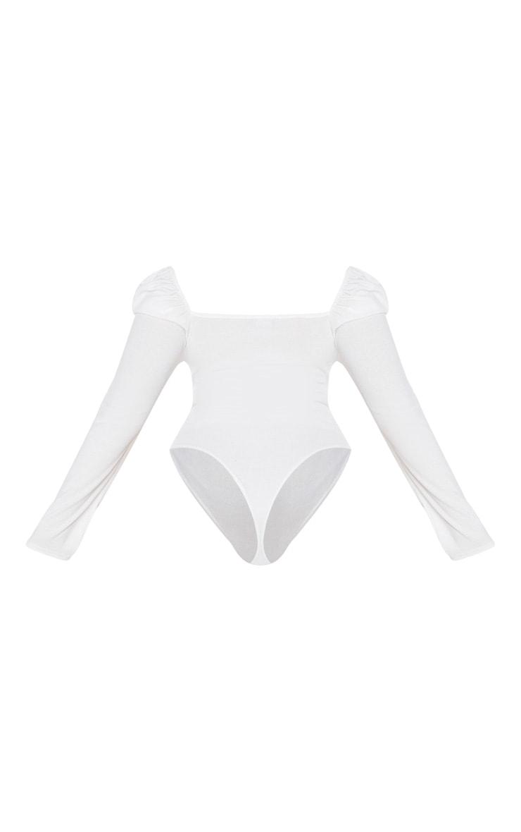 Plus Cream Rib Puff Sleeve Bodysuit 4