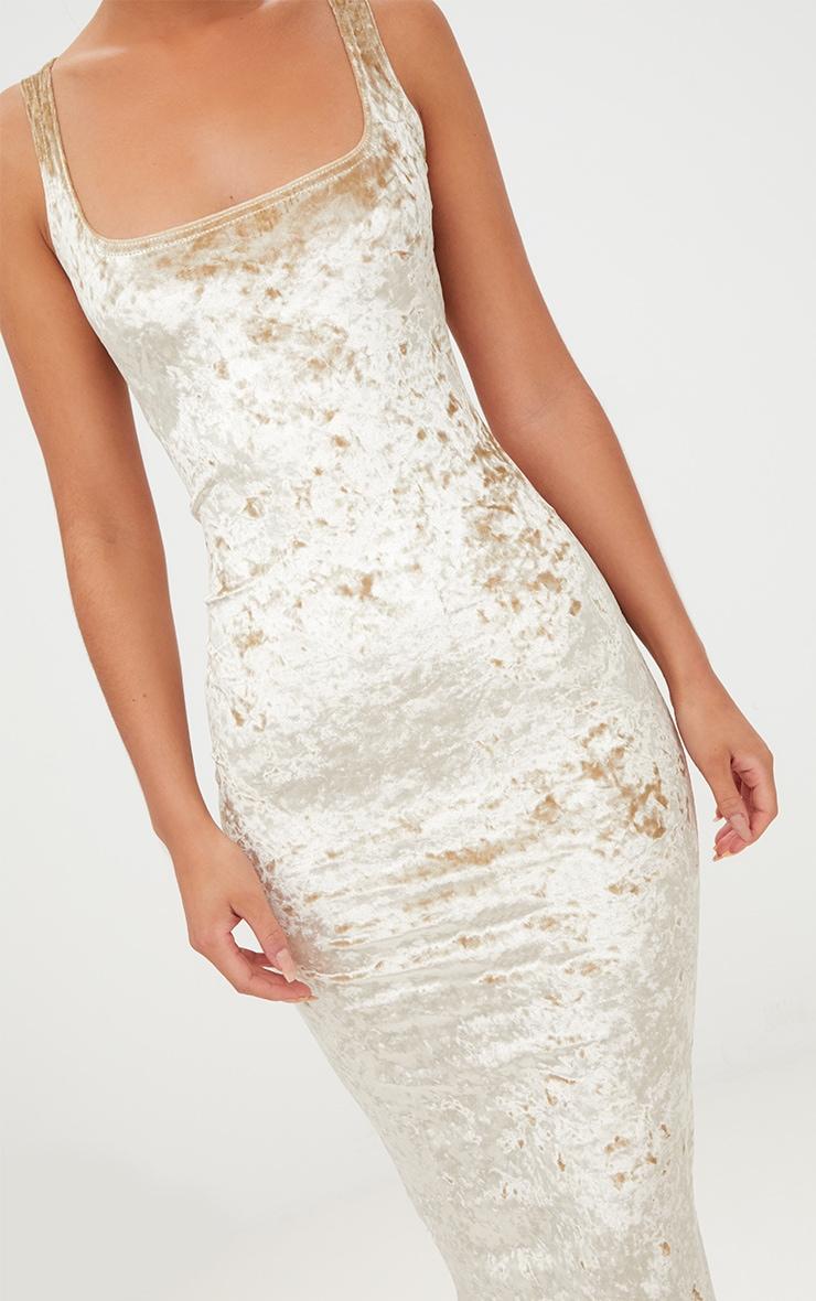 Champagne Square Neck Velvet Midaxi Dress 5