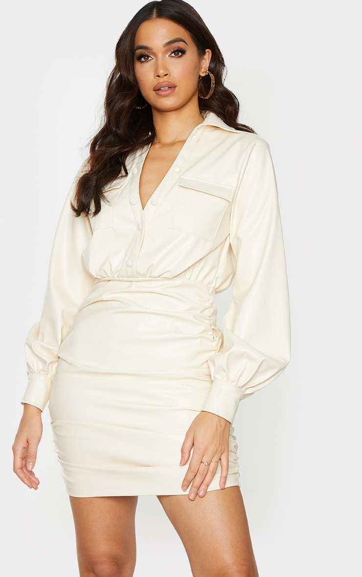 Cream PU Ruched Pocket Detail Shirt Style Bodycon Dress 1
