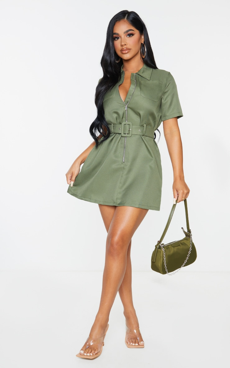 Petite Khaki Zip Detail Belted Utility Dress 4