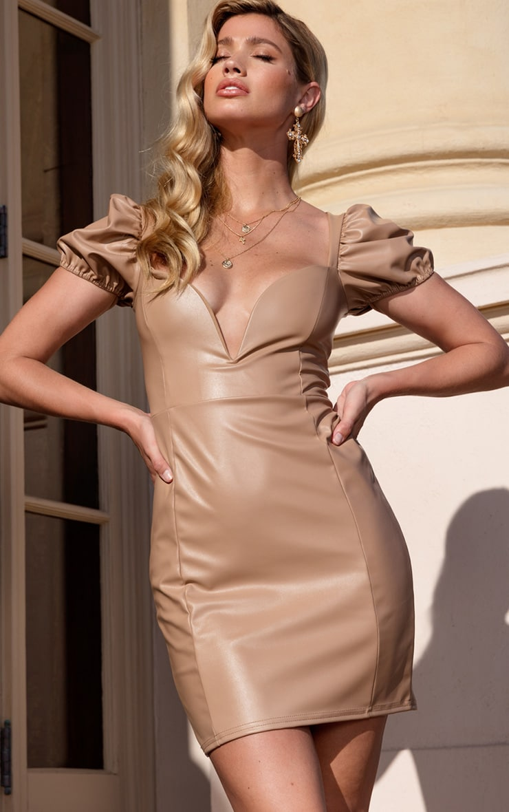 Taupe PU Puff Sleeve Bodycon Dress 1