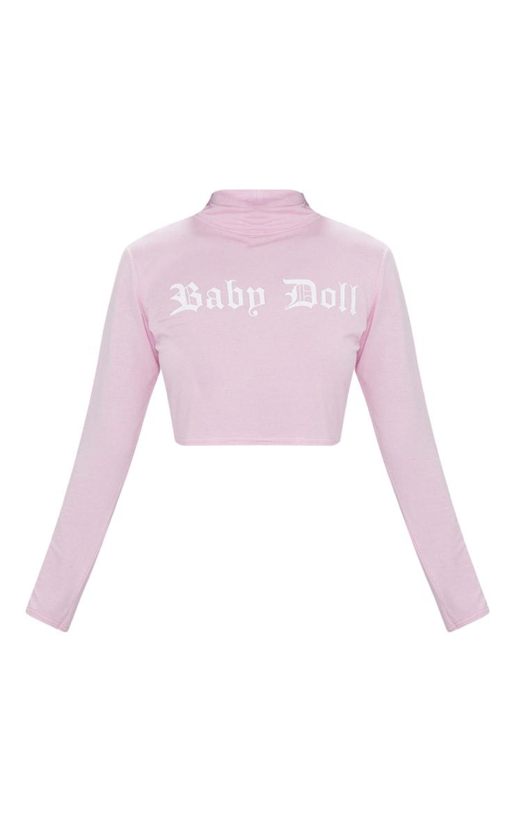 Baby Pink Baby Doll Slogan High Neck Crop Top  3