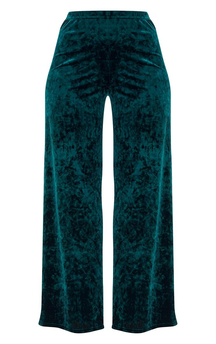 Emerald Green Crushed Velvet Suit Trouser 3