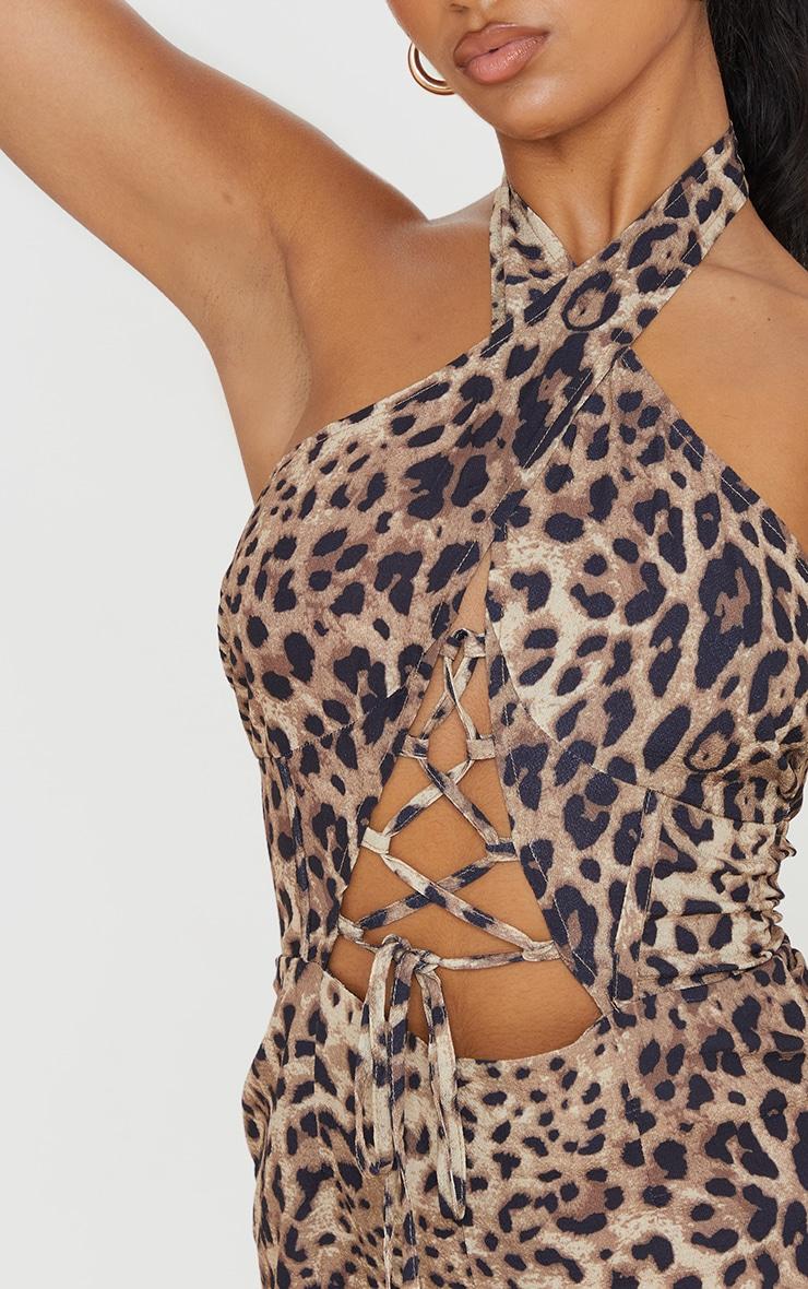 Tan Leopard Print Lace Up Plunge Romper 4