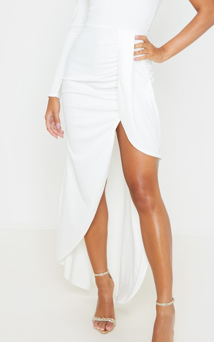 White One Shoulder Drape Skirt Maxi Dress 5