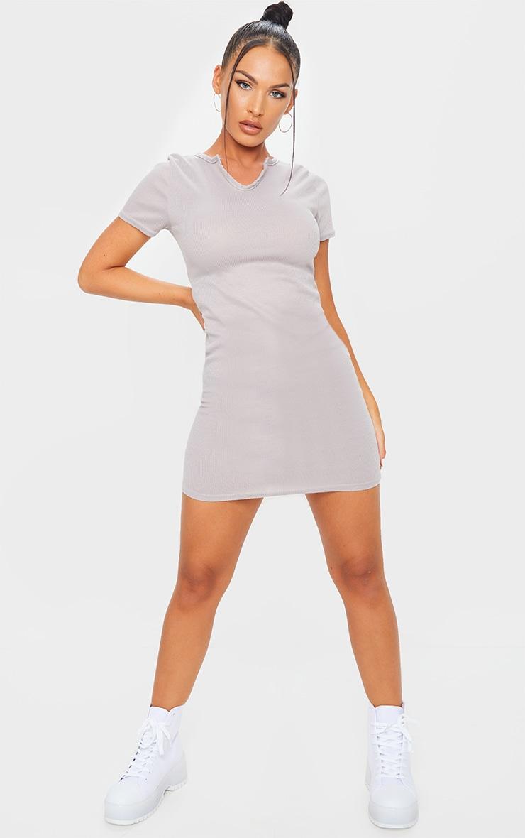 Grey Marl Frill Edge Rib V Neck Bodycon Dress 1
