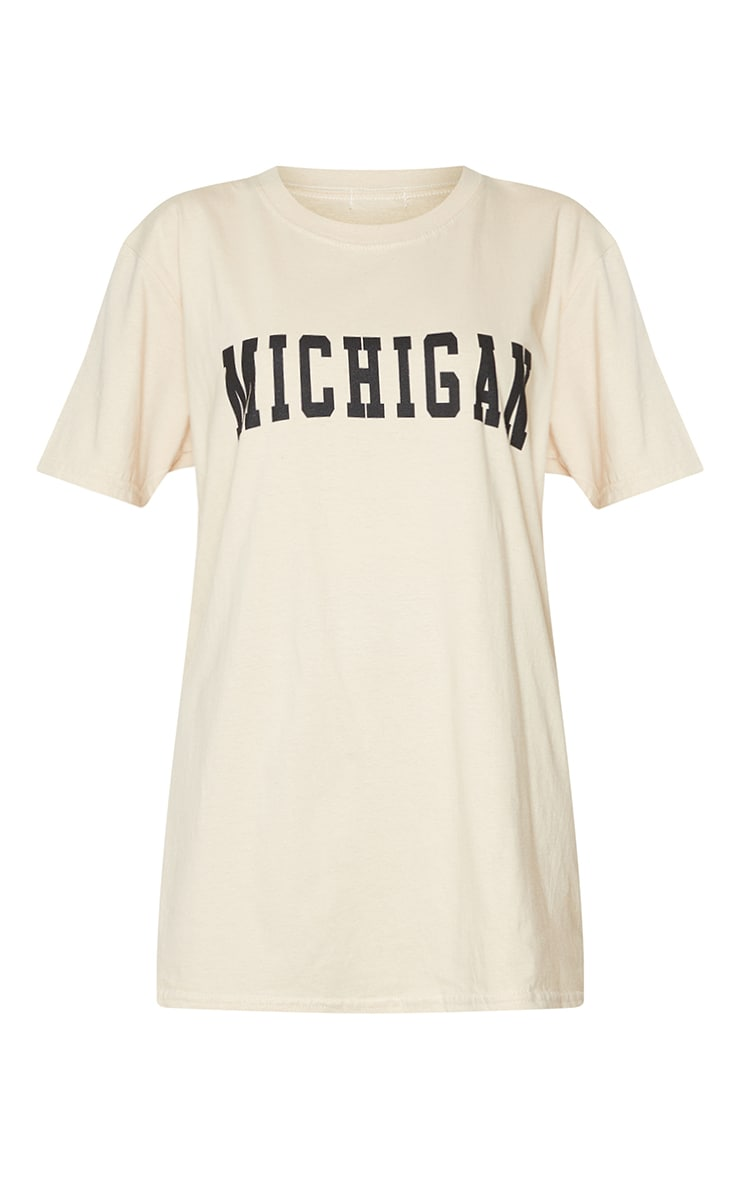 Sand Michigan Slogan Printed T Shirt 5