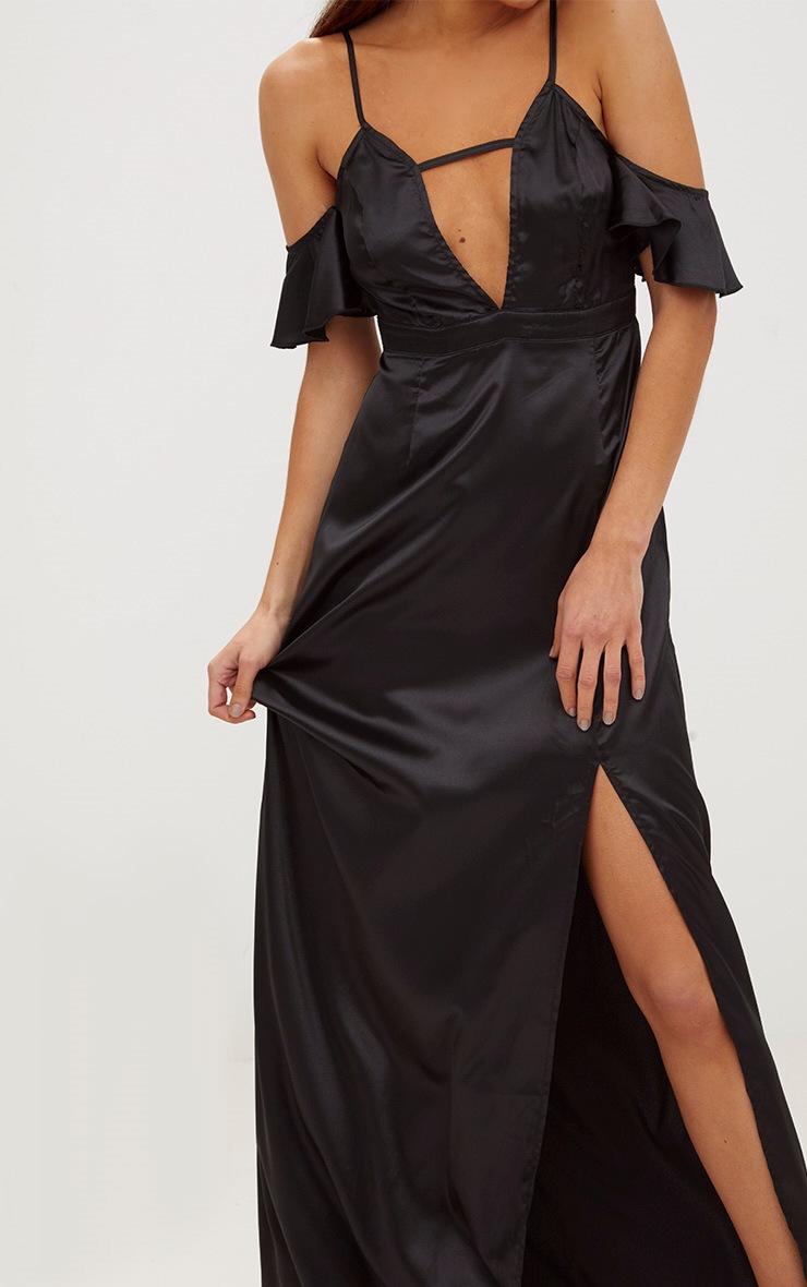 Black Frill Sleeve Split Detail Satin Maxi Dress 5