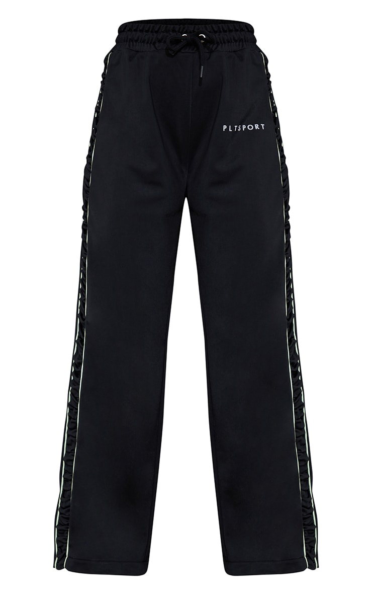 Black Piping Contrast Wide Leg Sports Jogger 5