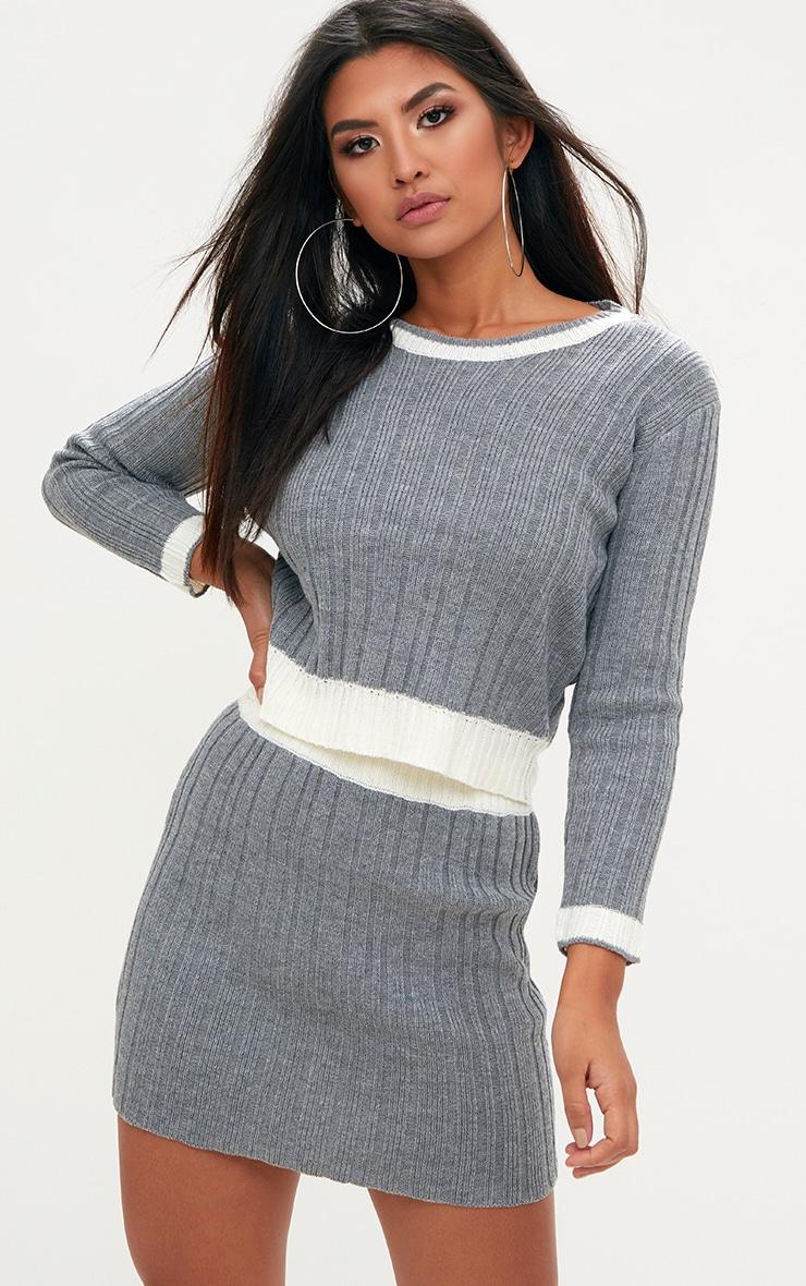 Grey Tipped Skirt Set 1