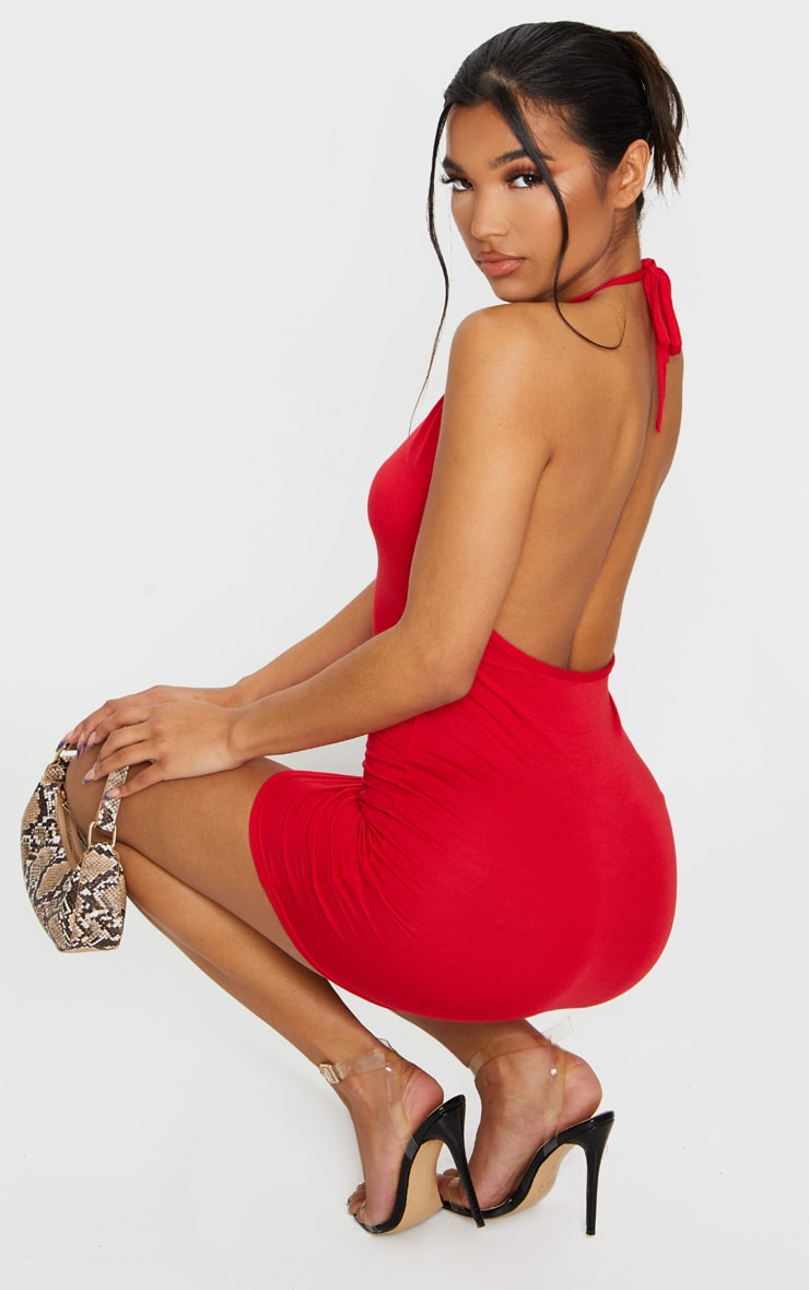 Basic Red Halterneck Bodycon Dress 1