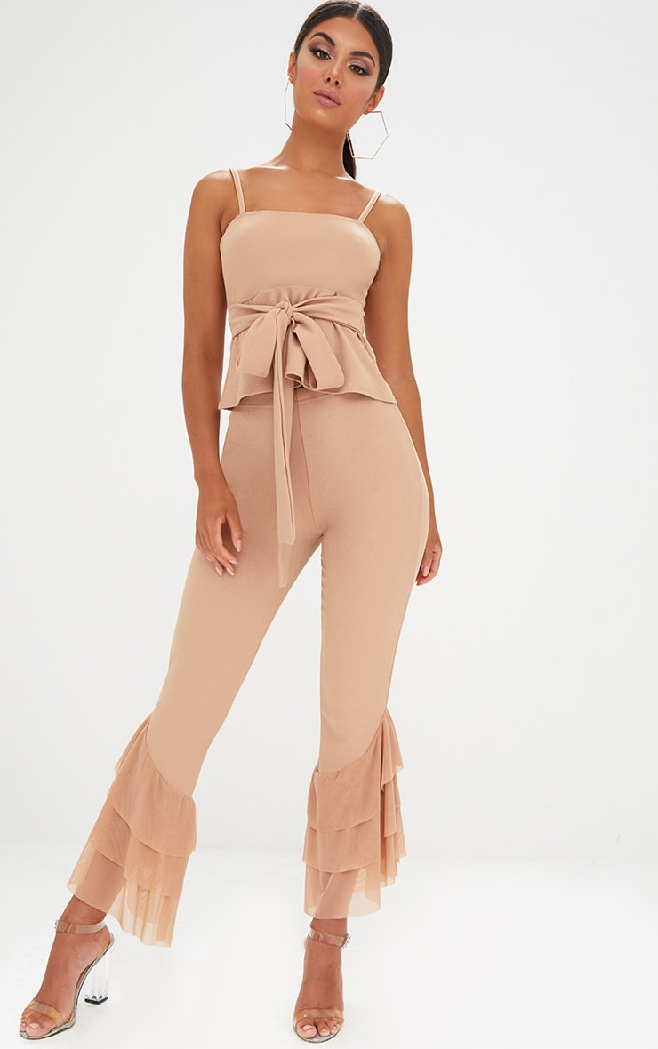 Sand Tulle Frill Flared Trousers 1