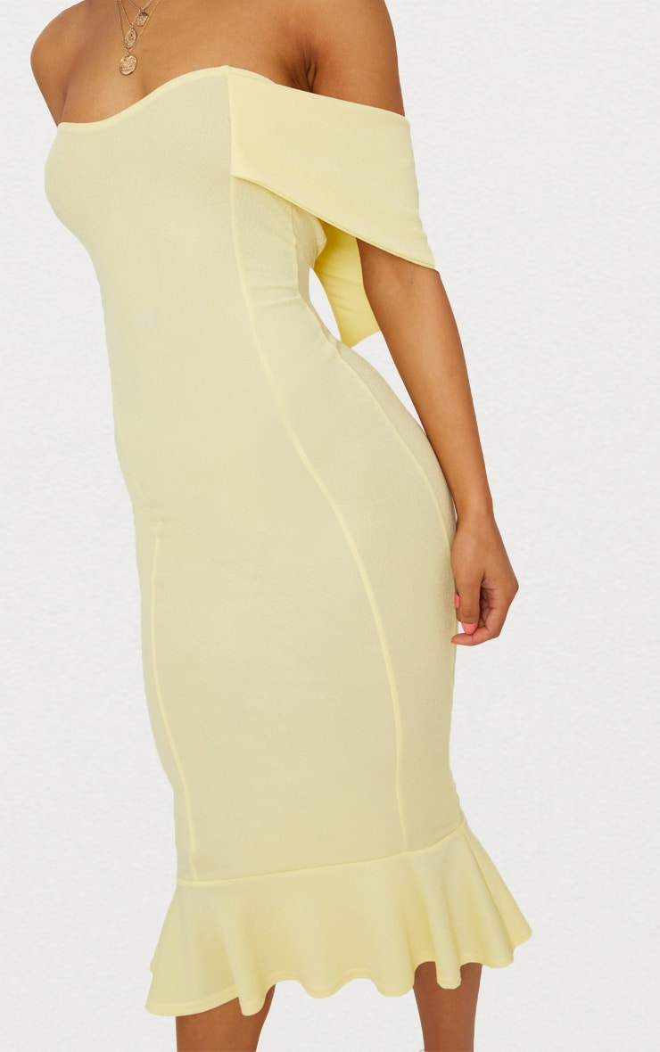 Lemon Bardot Frill Hem Midi Dress 5