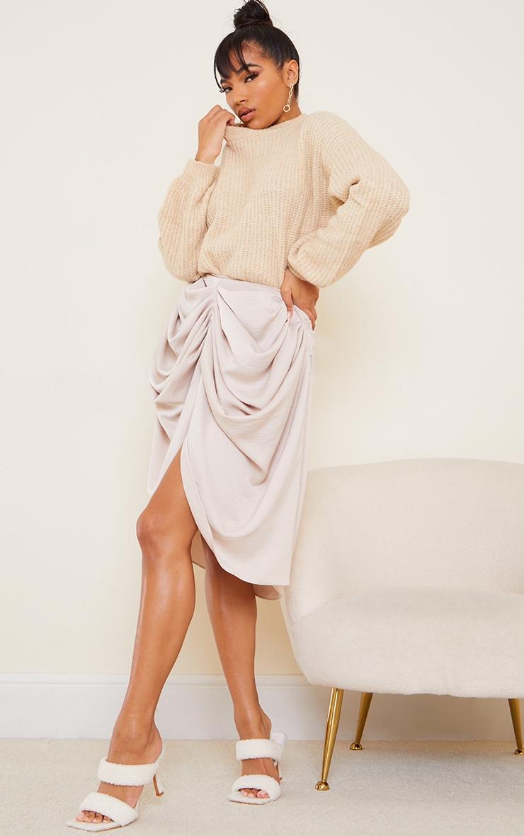 Cream Woven Draped Midi Skirt 1