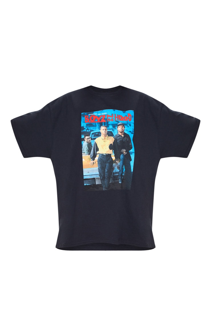 Black Oversized Boyz N the Hood Print T Shirt 3