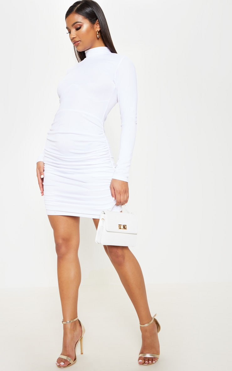 White Long Sleeve High Neck Ruched Side Bodycon Dress 1