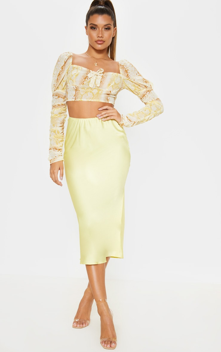 Pale Yellow Satin Midi Skirt  1