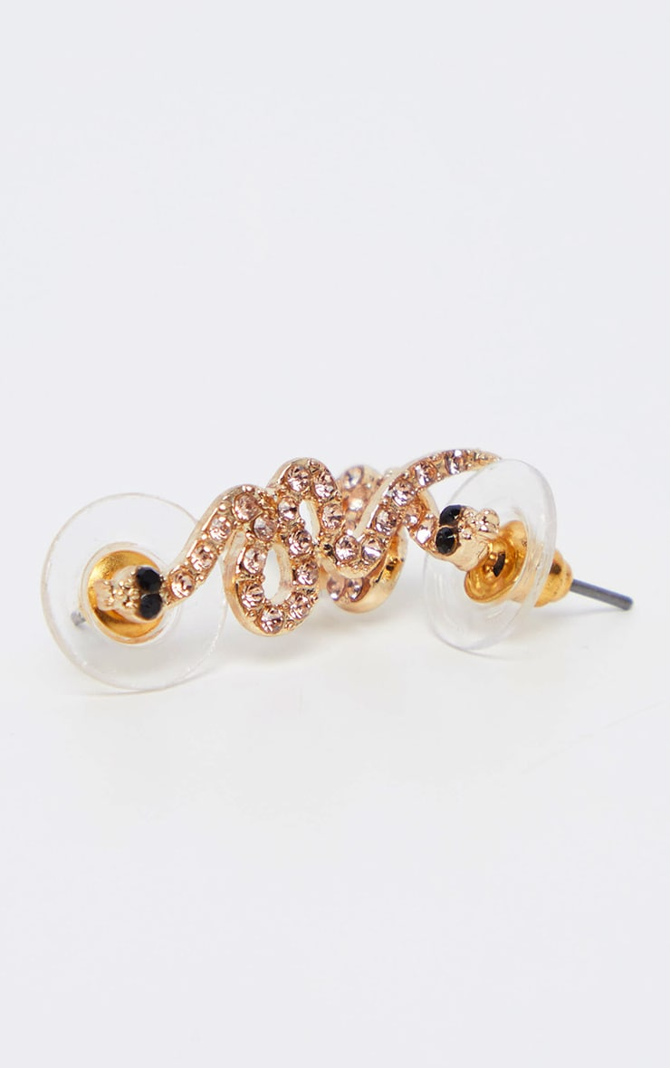 Gold Diamante Snake Stud Earring 3
