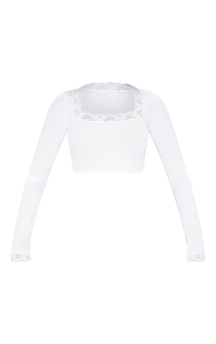 White Rib Lace Hem Long Sleeve Crop Top 3