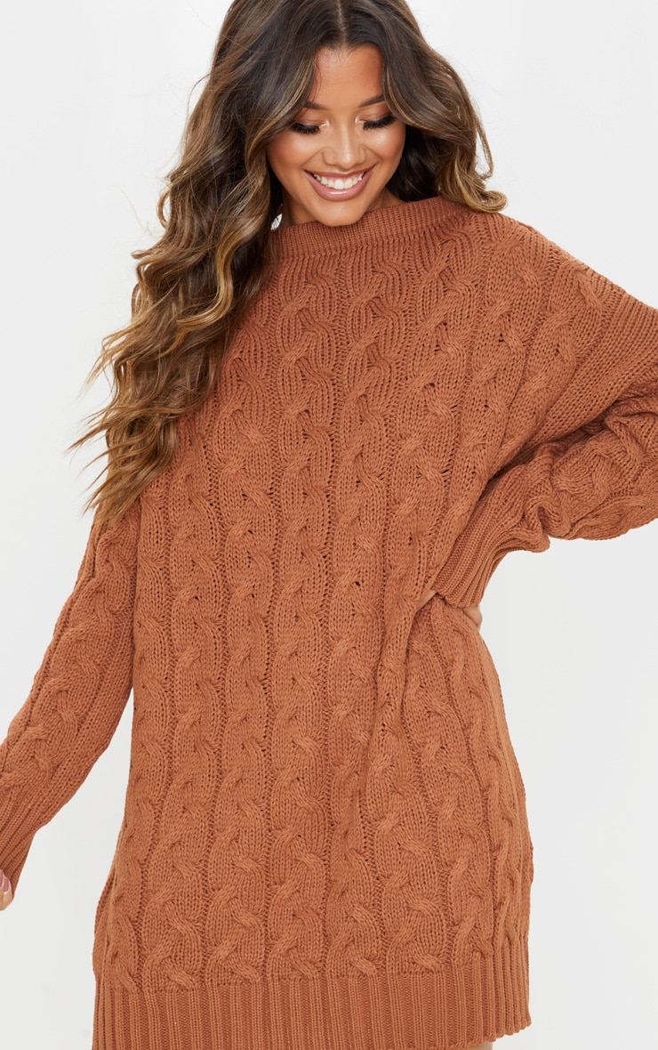 Tan Cable Detail Knitted Jumper Dress 5