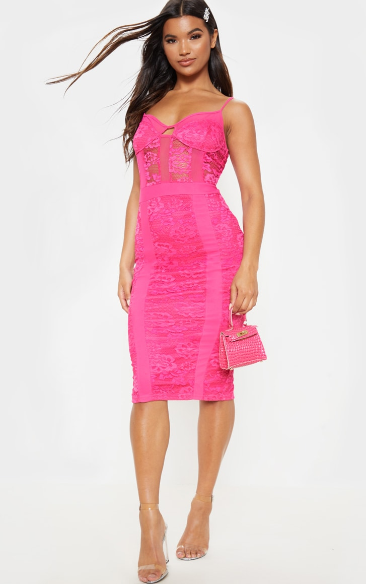 Hot Pink Strappy Lace Mesh Insert Midi Dress ...