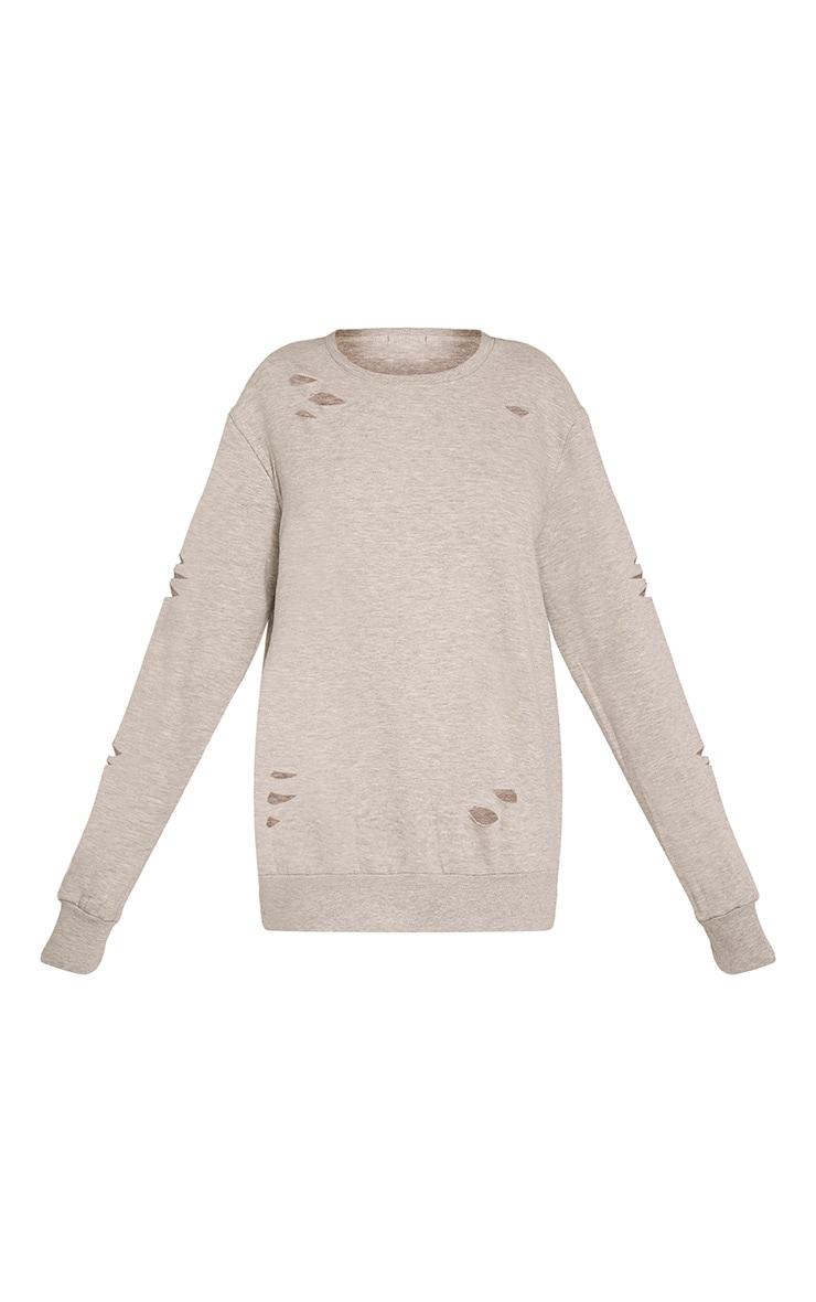 Jadey Grey Ripped Oversized Sweatshirt 3