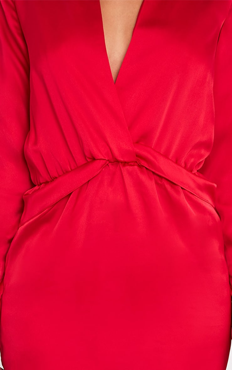 Katalea Red Twist Front Silky Shirt Dress 6