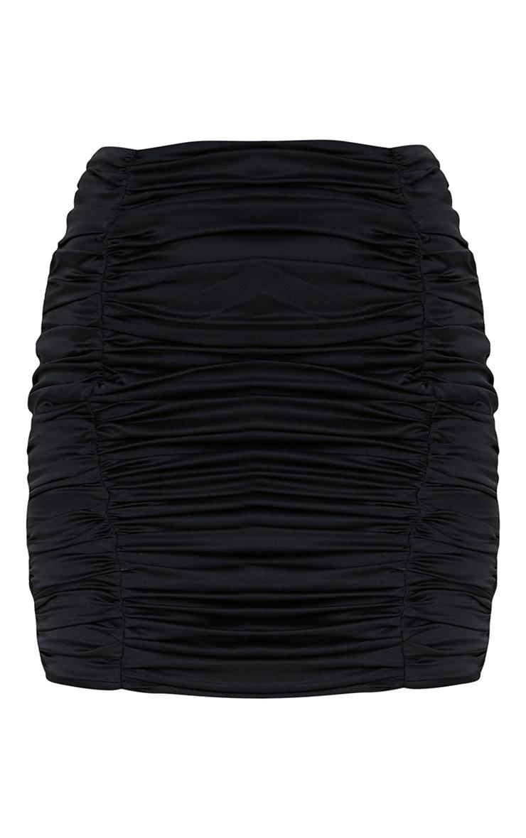 Petite Black Satin Ruched Skirt 1