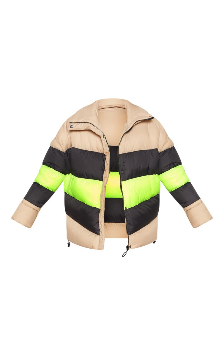 Camel Colour Block Panel Puffer  3