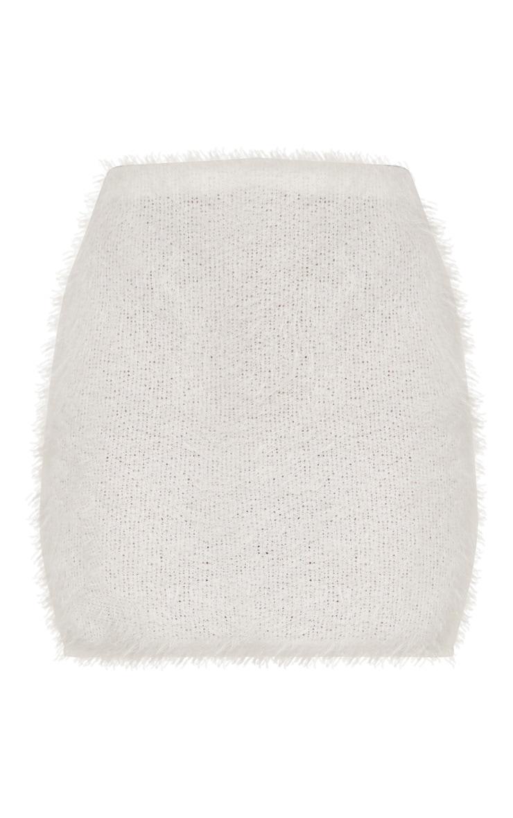 Cream Eyelash Fluffy Knit Mini Skirt 3