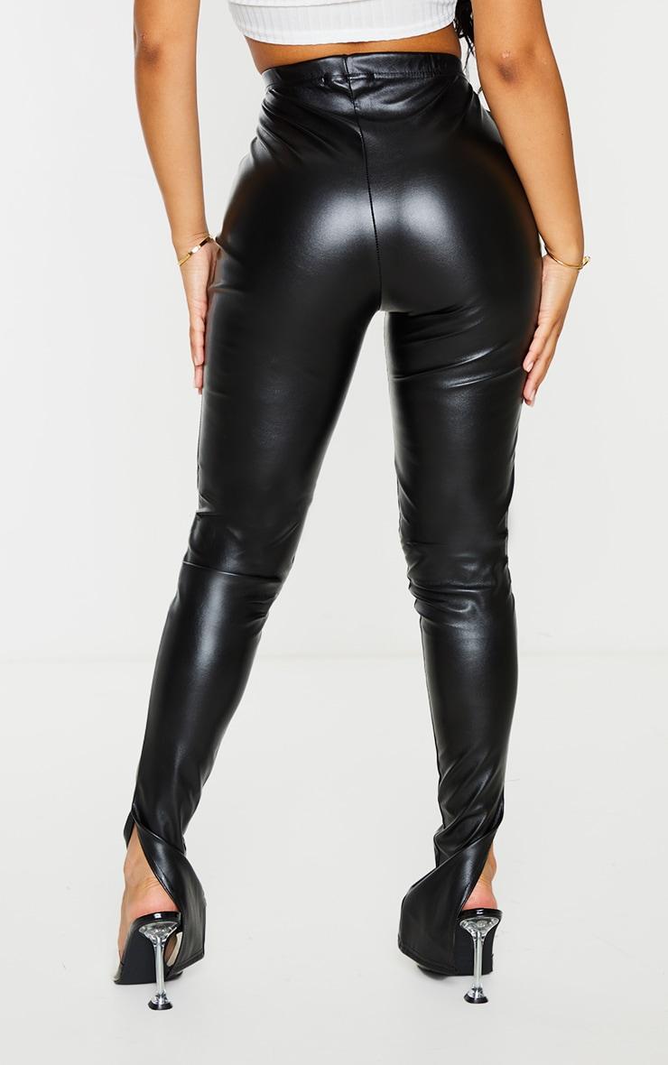 Petite Black Faux Leather Split Hem Leggings 3