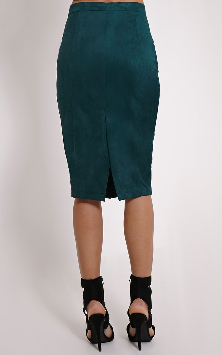 Meemee Green Button Front Suede Midi Skirt 4
