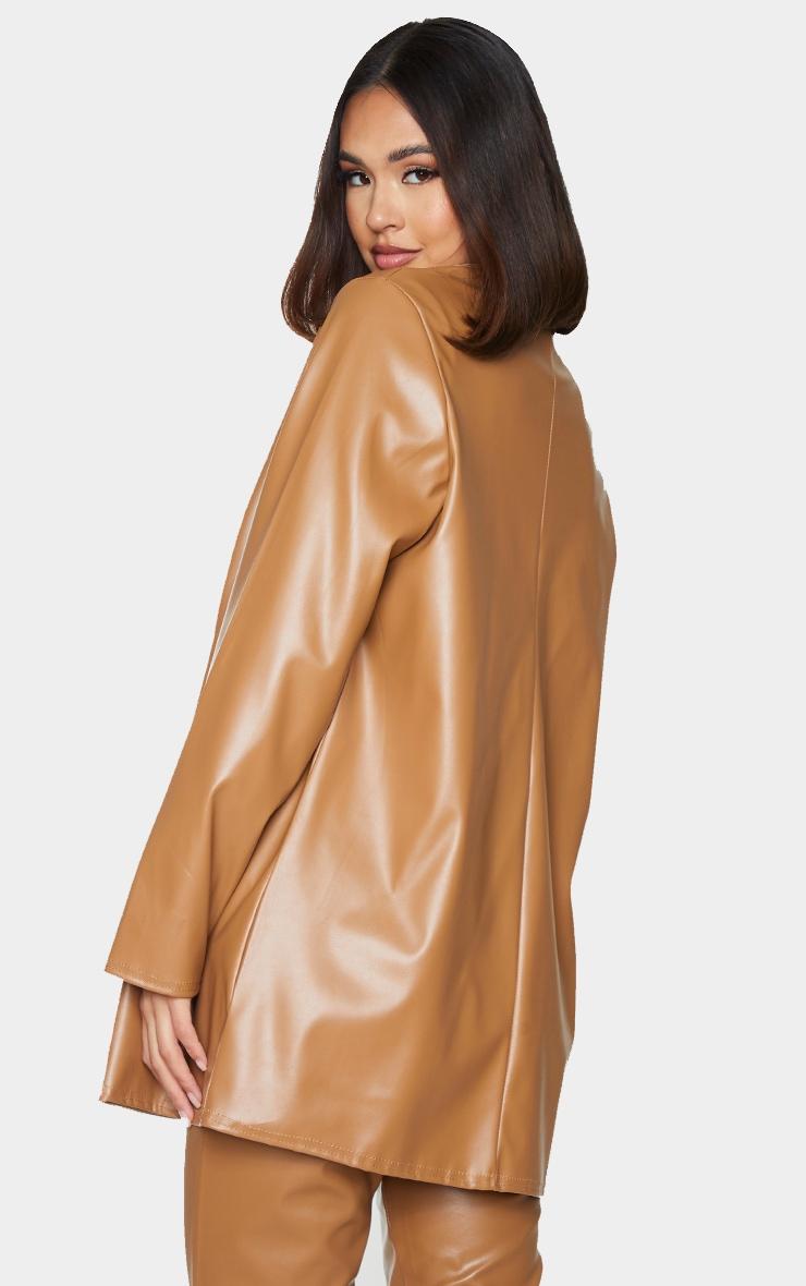 Tan Longline Lapel Detail Faux Leather Blazer 2