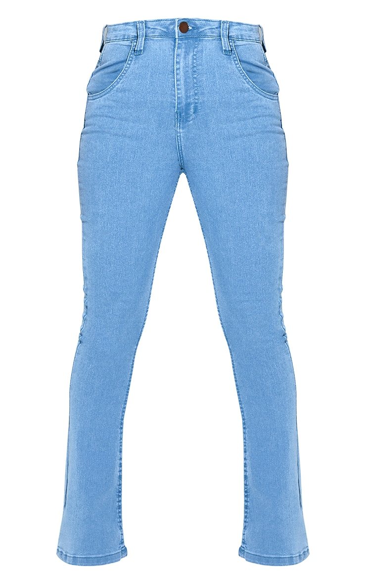 Petite Light Wash Stretch Denim Flare Jeans 6
