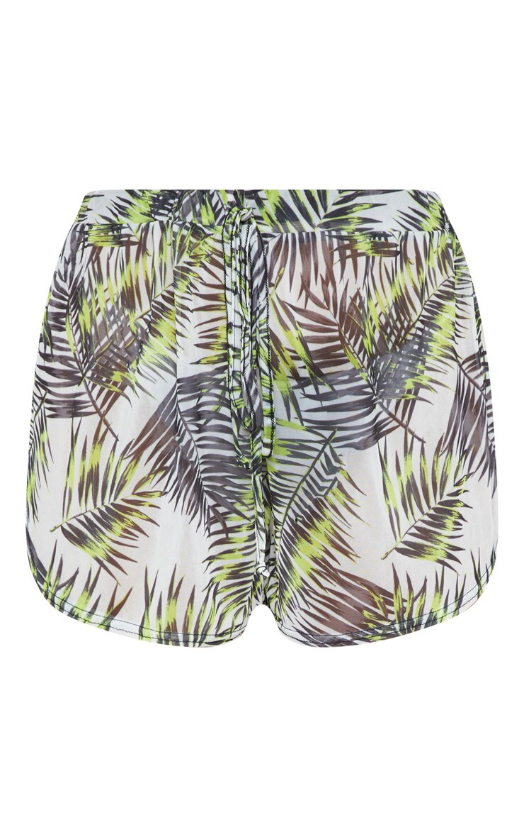 Lime Palm Chiffon Tie Waist Beach Short 3
