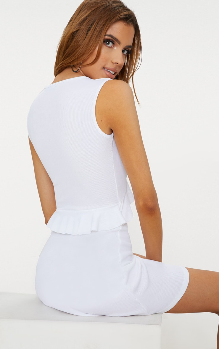White Ribbed Frill Tie Detail Skater Dress 2