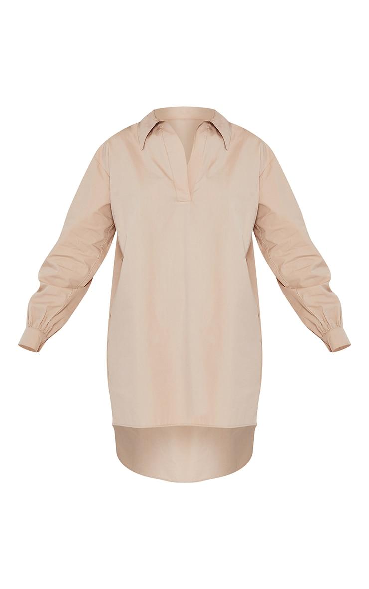 Stone Drop Hem Polo Collar Shirt Dress 5