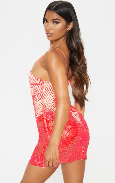Neon Pink Glitter Diamond Strappy Plunge Bodycon Dress
