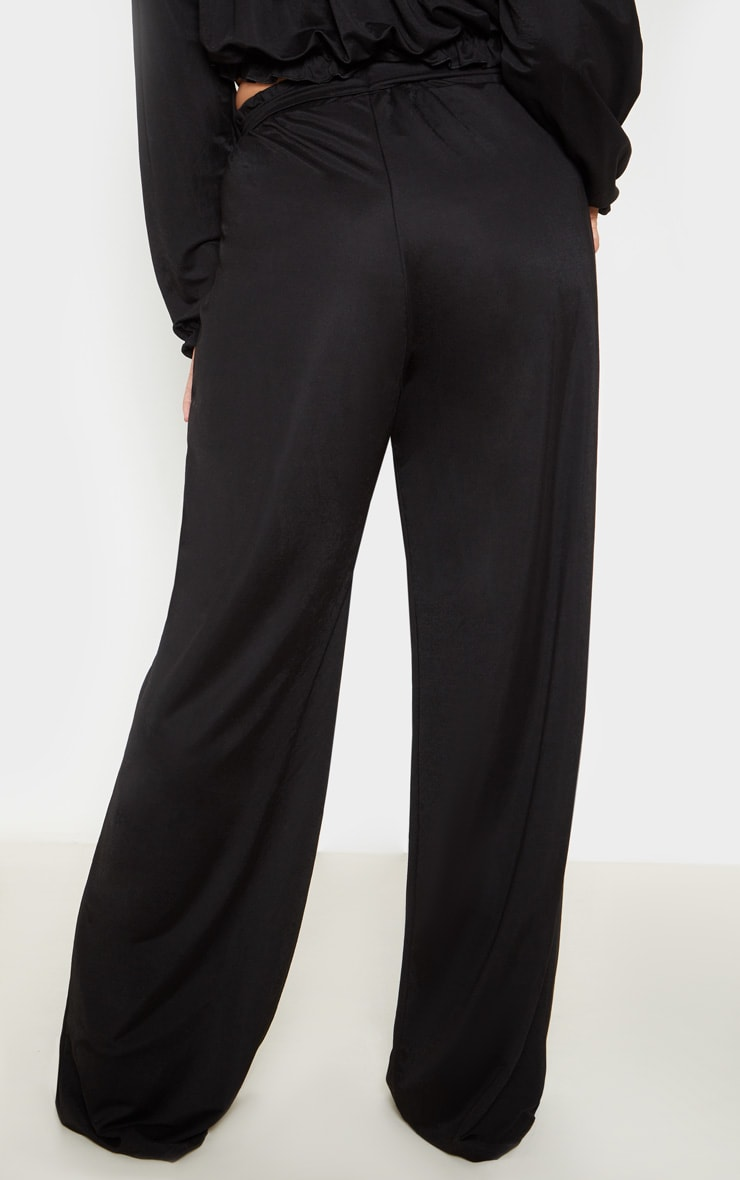 Plus Black Woven Wide Leg Trousers 4
