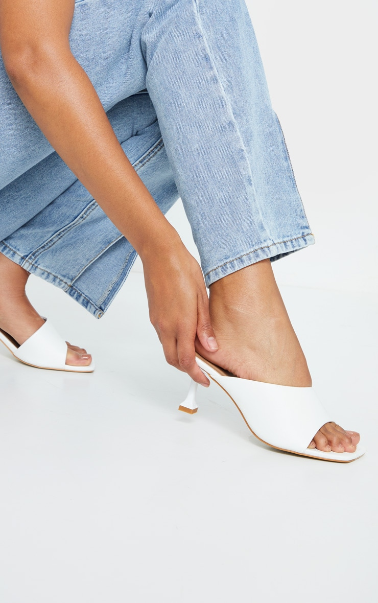 White Asymmetric Low Heel Mules 1