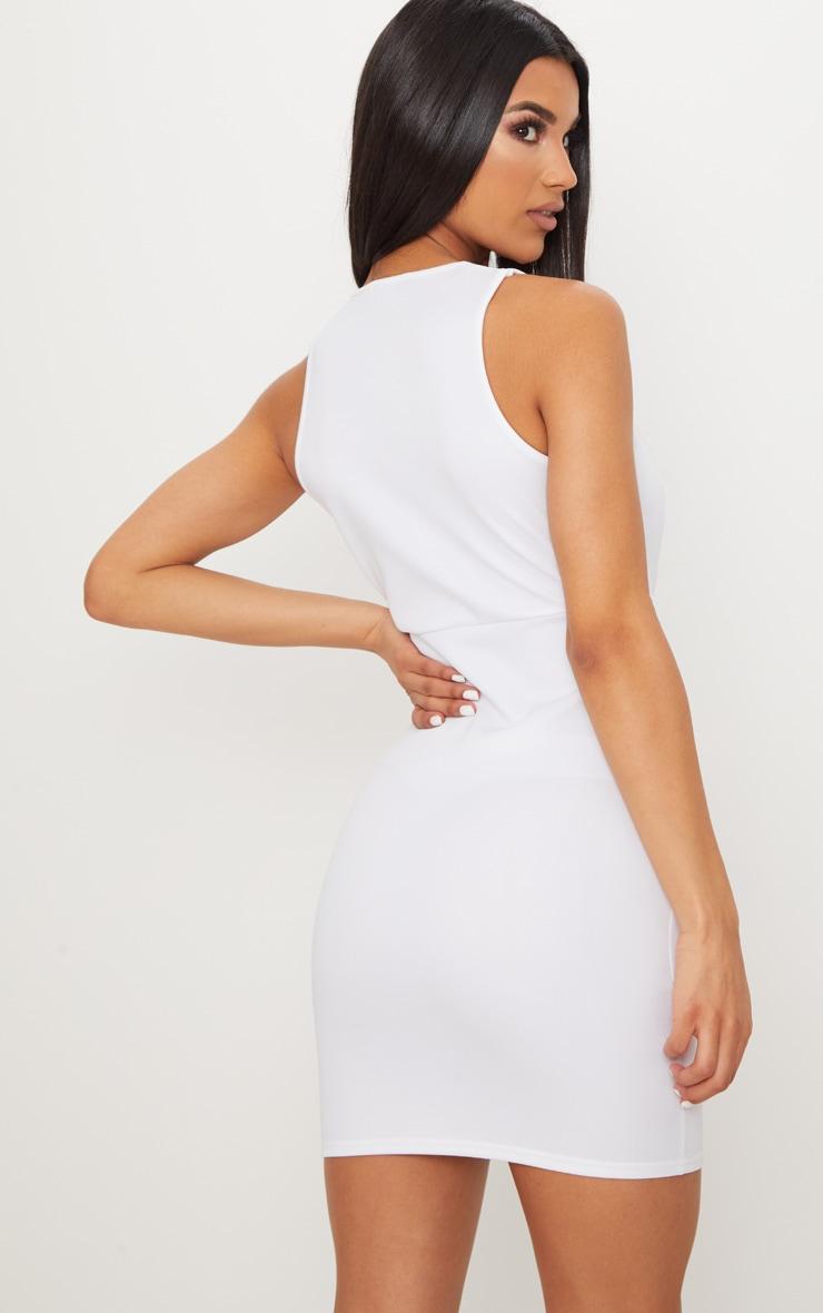 White Scuba Sleeveless Cut Out Plunge Bodycon Dress 2