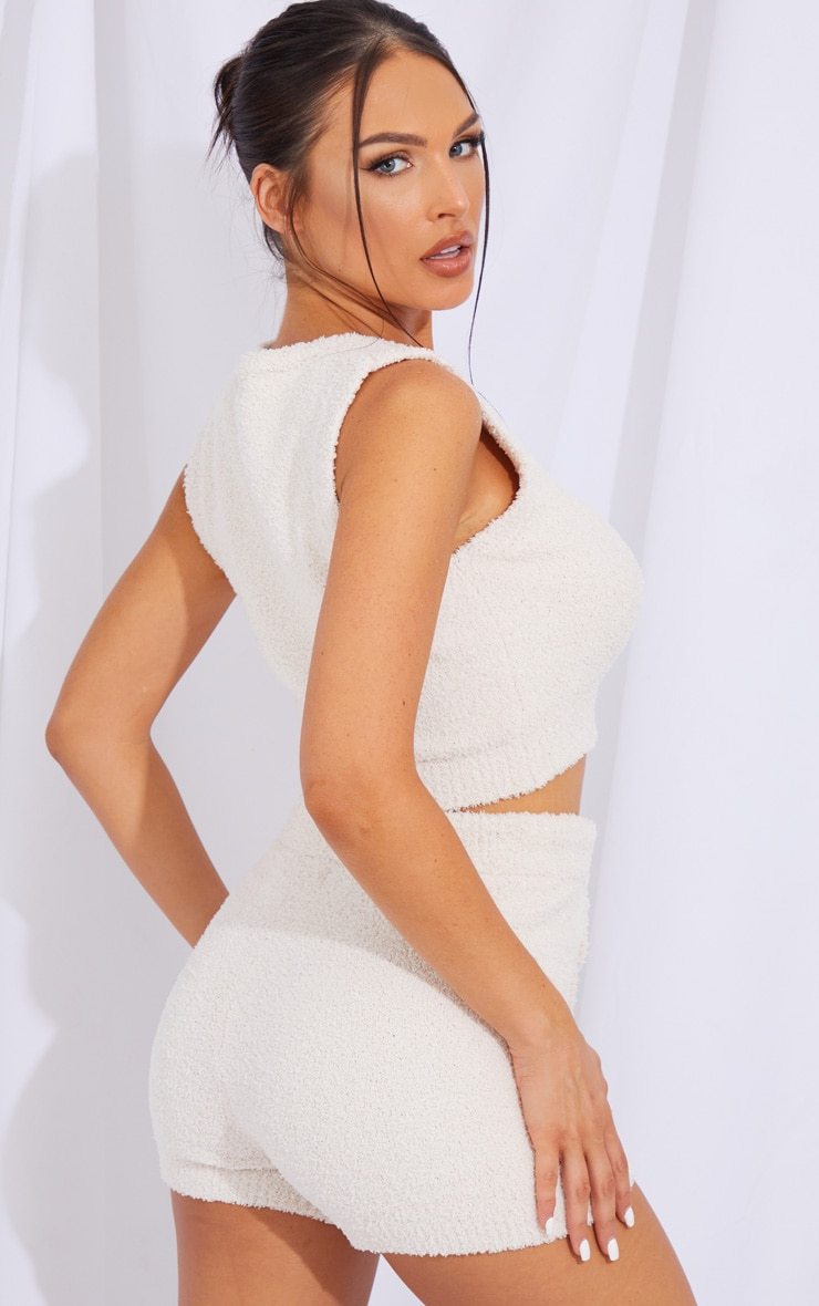 Cream Chenille Racerback And Shorts Lounge Set 2