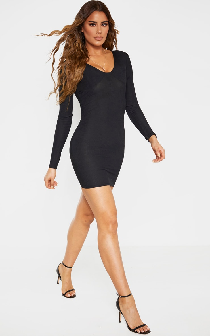 Tall Black Ribbed Cup Detail Long Sleeve Mini Dress 4