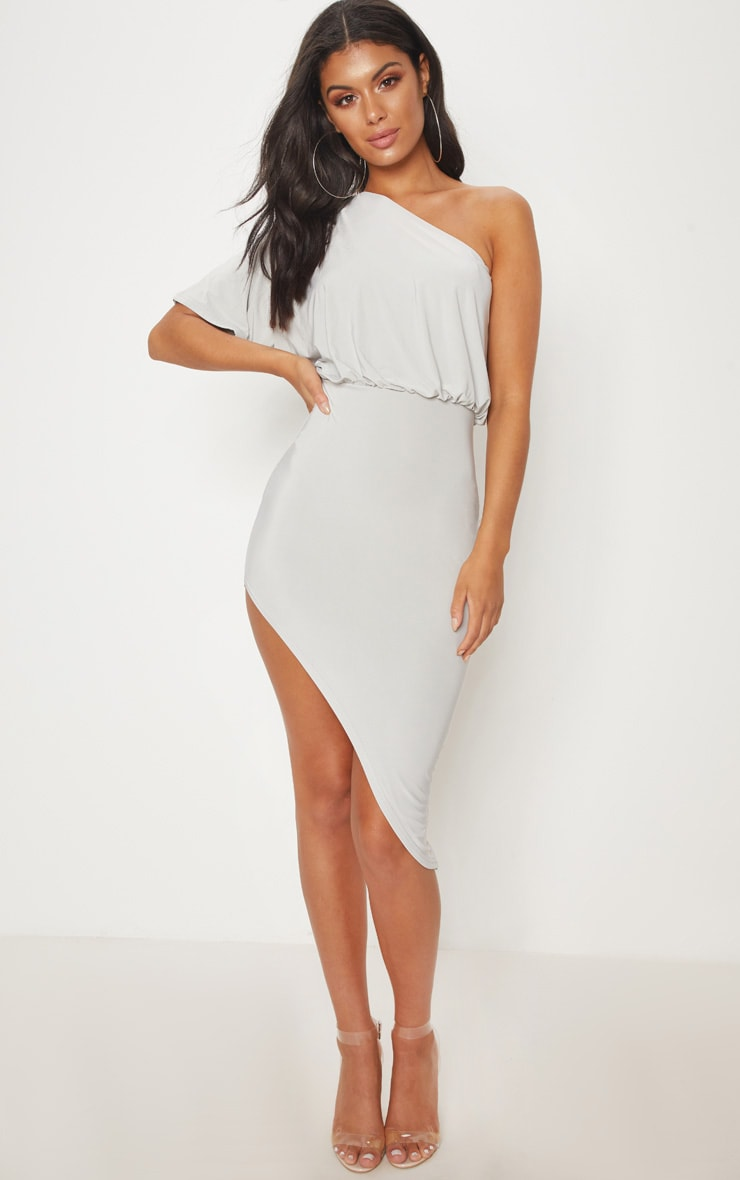 Ice Grey Drape One Shoulder Asymmetric Midi Dress 1
