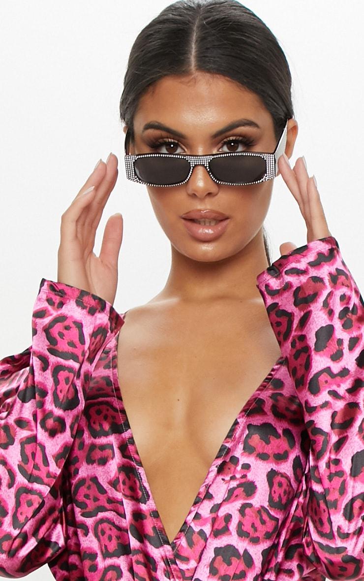 Pink Satin Plunge Leopard Print Bodysuit 6