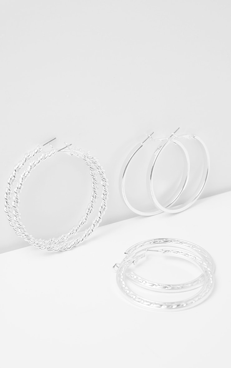 Silver Chunky Assorted Hoop Earrings 4