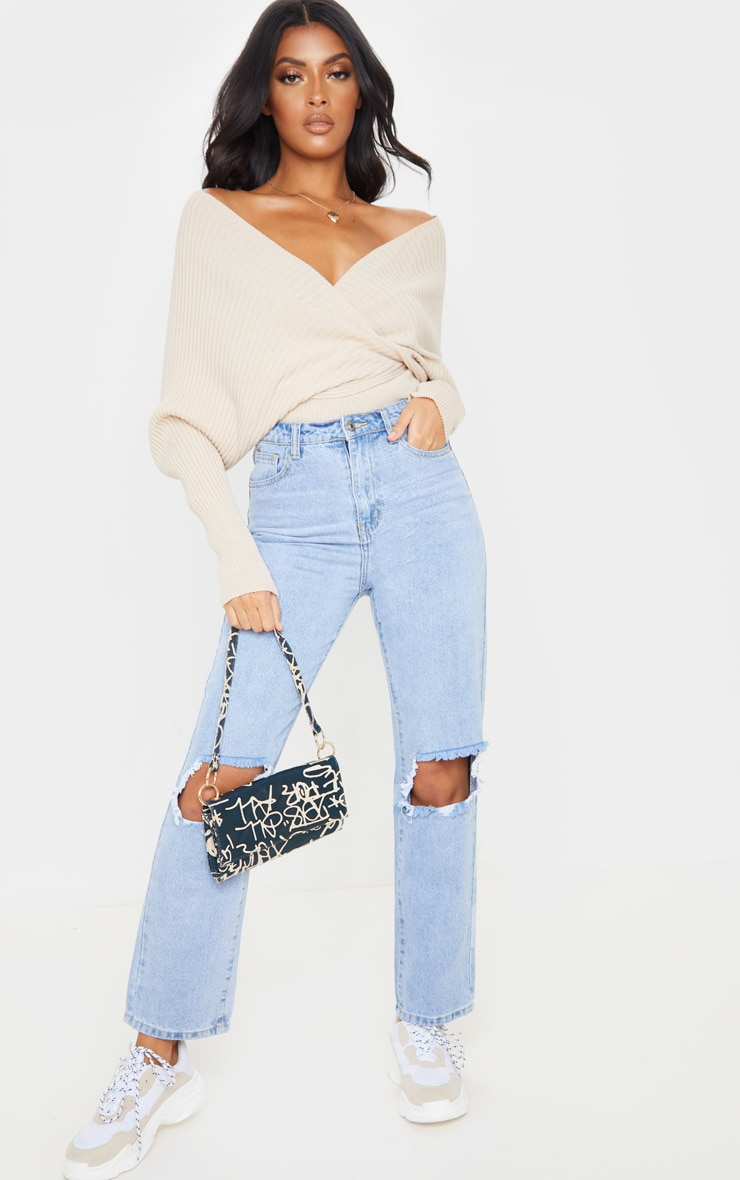 Stone Wrap Off The Shoulder Jumper 4